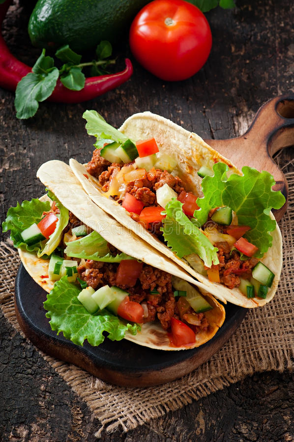 Mexicaanse taco's met vlees royalty-vrije stock foto