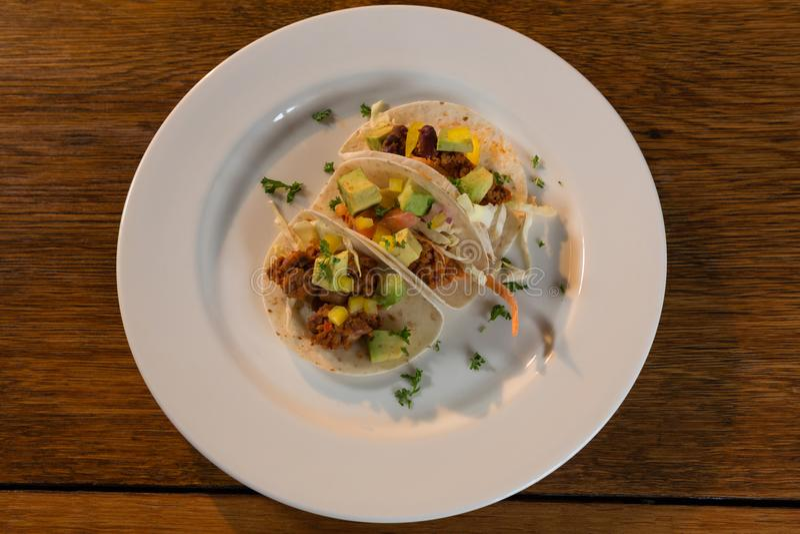 Mexicaanse taco's in plaat royalty-vrije stock fotografie