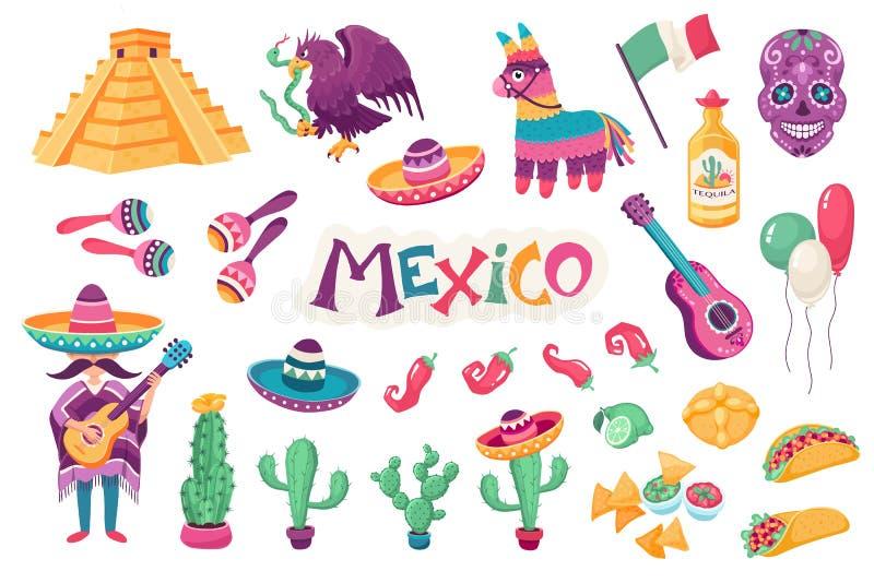 Mexicaanse traditionele voorwerpen vector illustratie