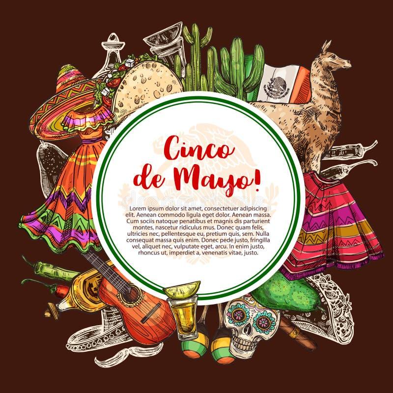 Mexicaanse vakantie, Cinco de Mayo, doodsfestival stock illustratie
