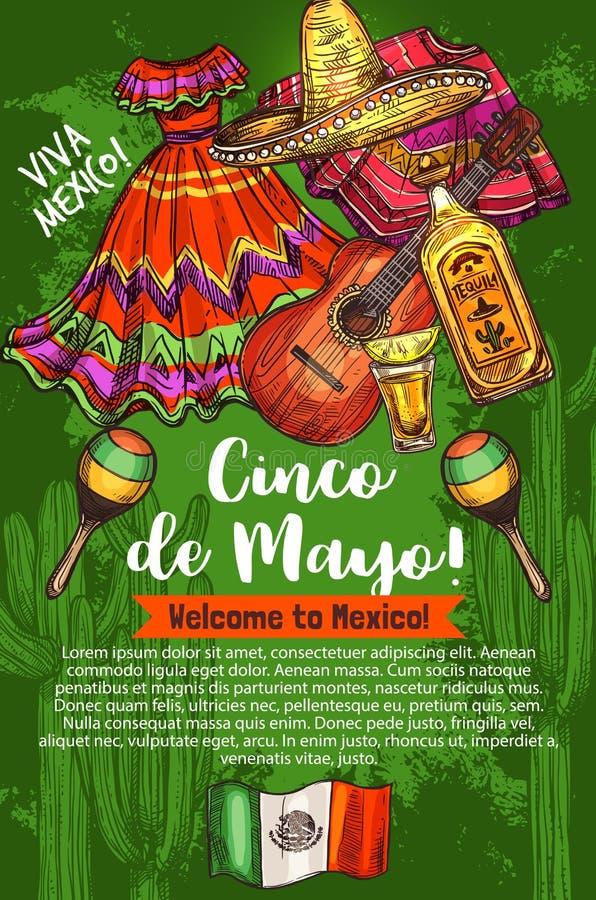 Mexicaanse vakantie, Cinco de Mayo, reis aan Mexico stock illustratie
