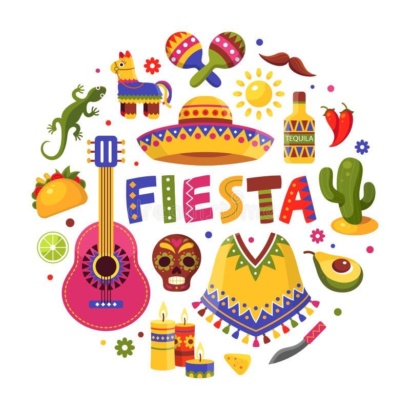 Mexicaanse vakantiereeks, traditionele affiche voor fiestaontwerp royalty-vrije illustratie