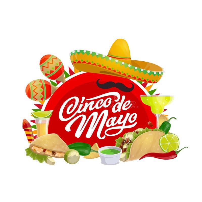 Mexicaanse van vakantiesombrero en Cinco de Mayo maracas stock illustratie