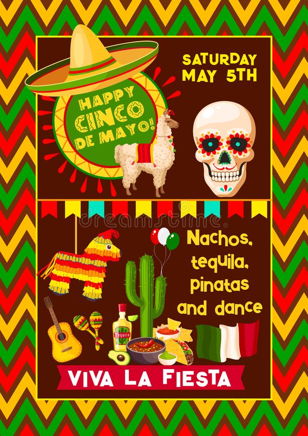 Mexicaanse vectoraffiche voor Cinco de Mayo-fiesta stock illustratie