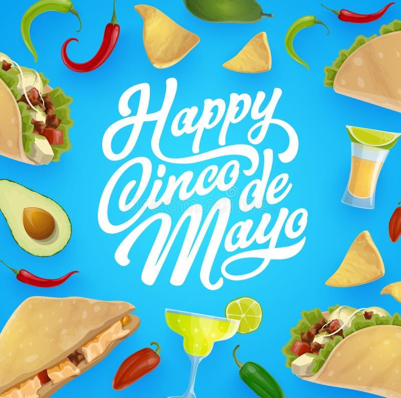 Mexicaanse voedsel en drank Cinco de Mayo-fiestapartij royalty-vrije illustratie