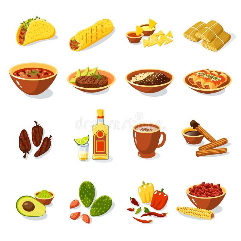 Mexicaanse Voedselreeks vector illustratie