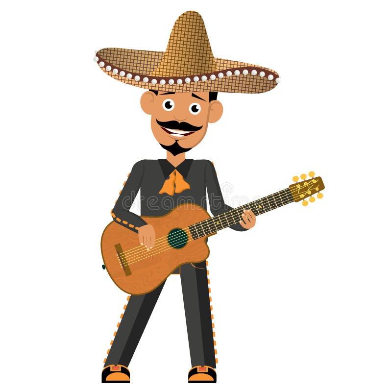 Mexicain avec une guitare Préparez pour chanter et avoir l'amusement illustration de vecteur