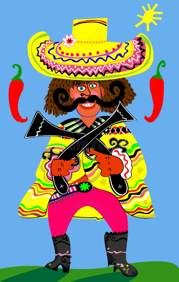 Mexican. This guy likes to pepper go for the gusto royalty free illustration