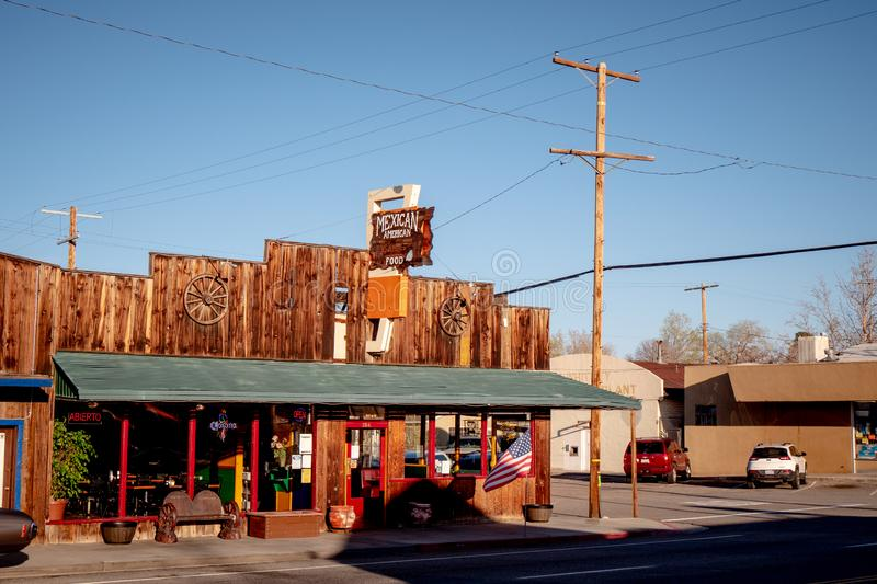 Mexican American restaurant in the historic village of Lone Pine - LONE PINE CA, USA - MARCH 29, 2019. Mexican American restaurant in the historic village of stock image