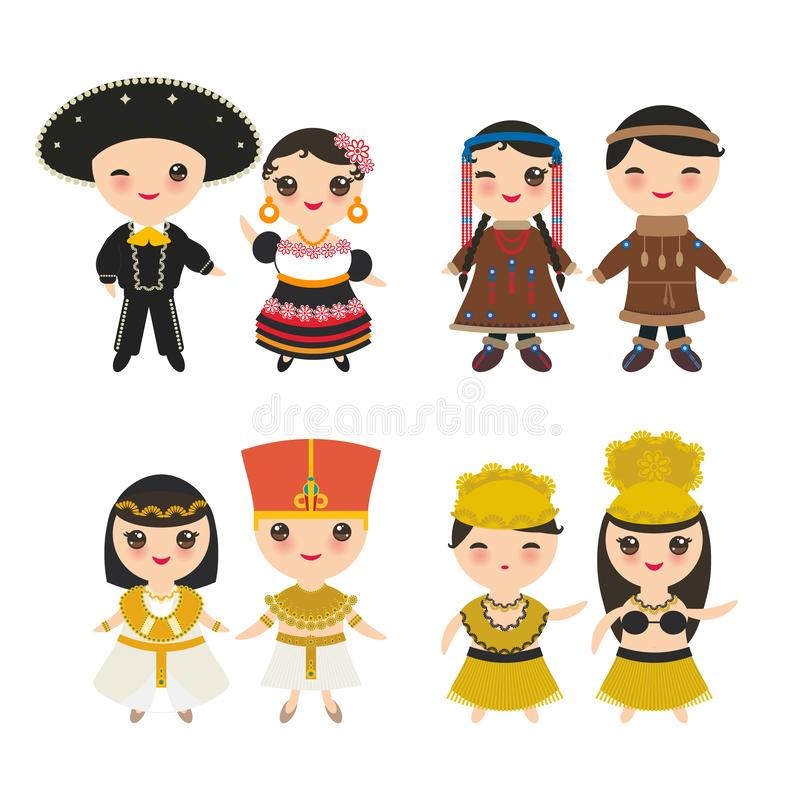 Mexican, Ancient Egypt, Hawaiian Hula Dancer, Chukcha Yakut Eskimos, boy and girl in national costume and hat. Cartoon children in. Traditional dress. Isolated stock illustration