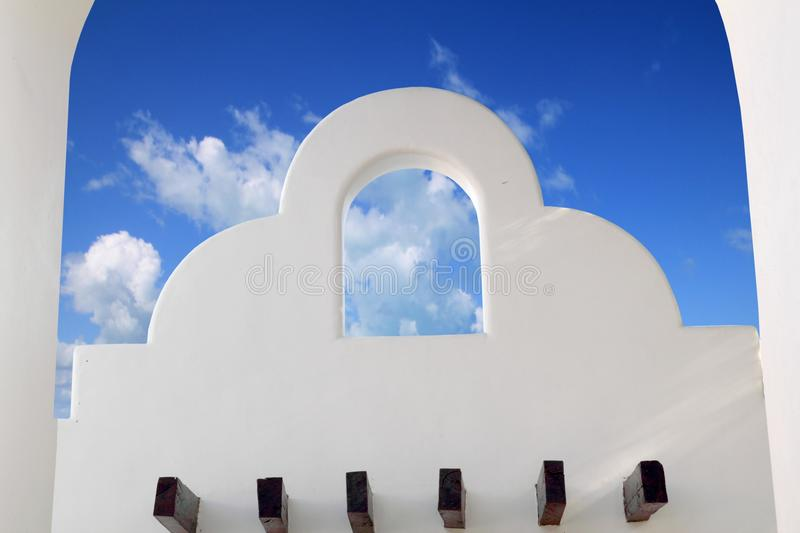 Mexican Architecture White Archs Blue Sky Stock Images