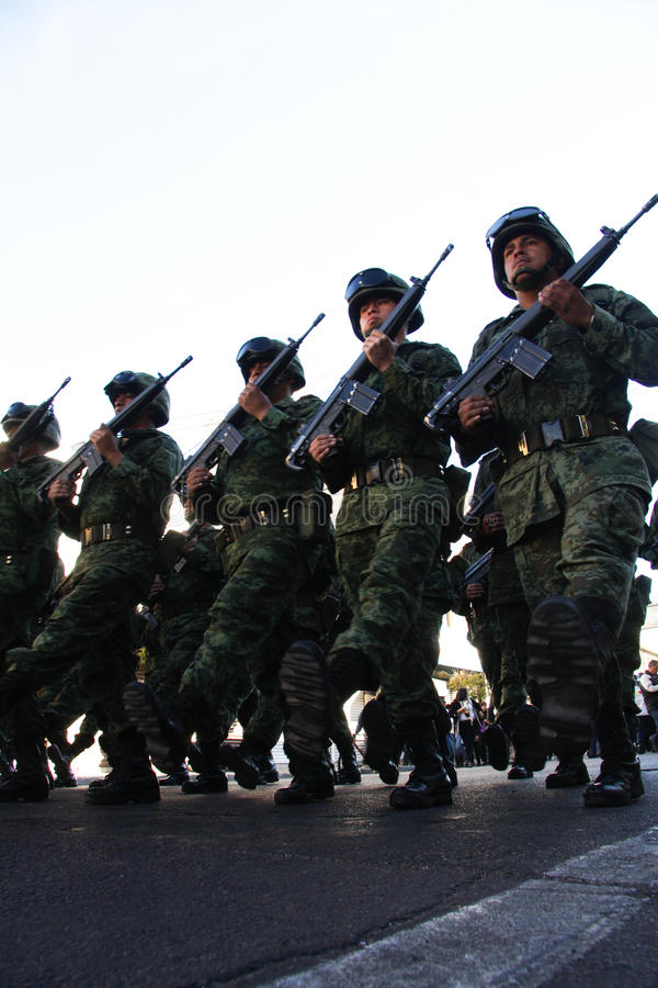 Mexican Army soldiers during a tour stock photography