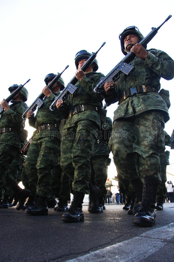 Mexican Army soldiers during a tour royalty free stock image