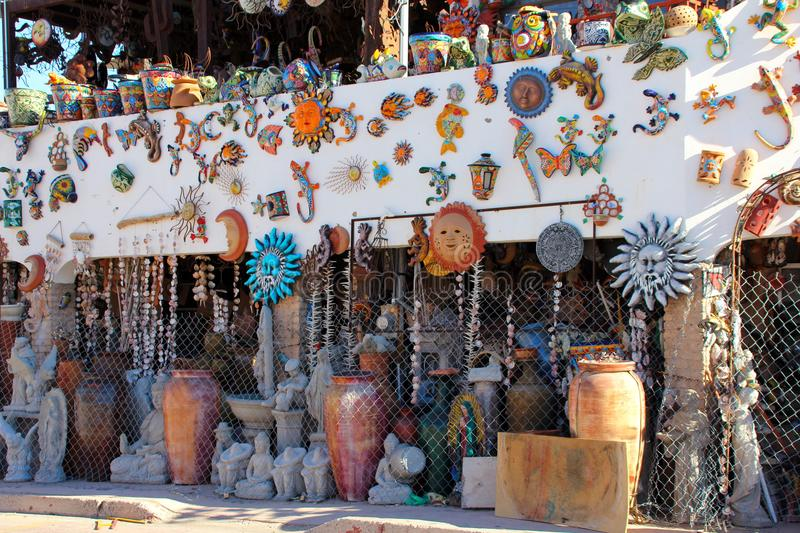 Mexican artwork store closed in Puerto Penasco, Mexico. Some of the colourful and decorated buildings seen aroun Puerto Peñasco, also known as Rocky Point, is a stock images