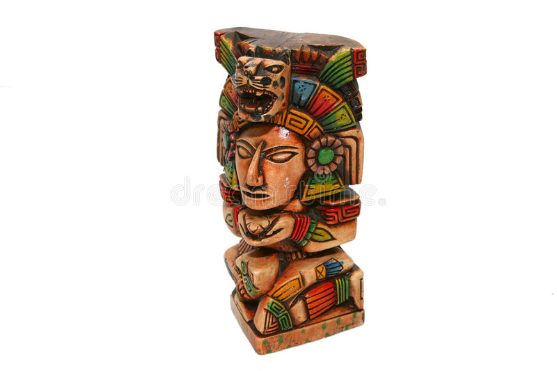 Mexican aztec indian. Totem isolated over white royalty free stock photo