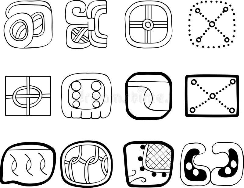 Download Mexican, Aztec Or Maya Motifs, Glyphs Stock Vector - Image: 18969077