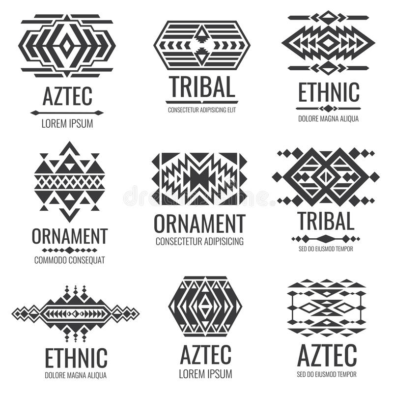 Mexican Aztec Symbols Vintage Tribal Vector Ornaments Stock Vector