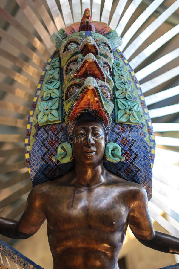 Mexican Aztec Warrior. Sculpture of a Mexican Aztec Warrior royalty free stock photography