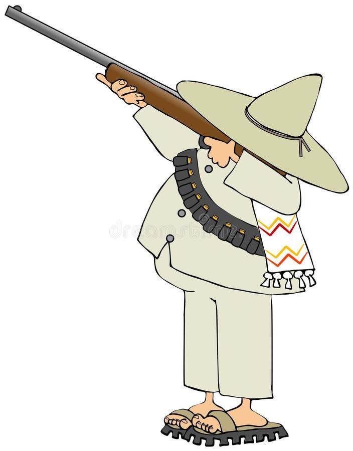 Mexican bandido shooting a rifle vector illustration