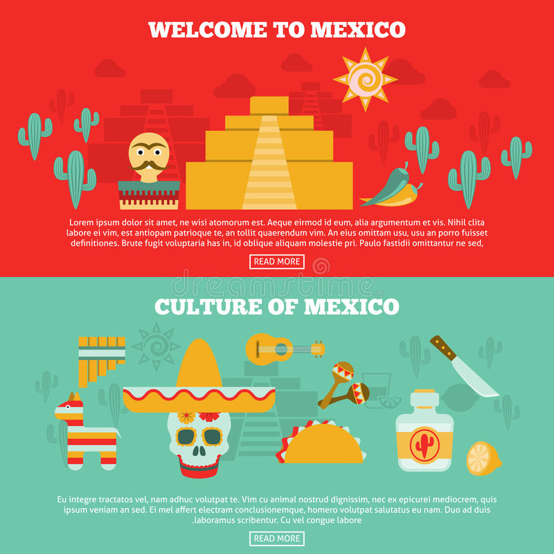 Mexican Banners Set. Mexican horizontal banners set with culture and tourism symbols flat vector illustration stock illustration