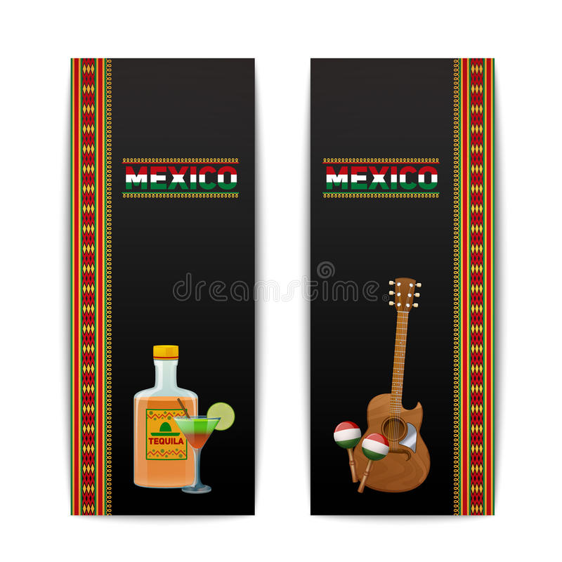 Mexican Banners Vertical. Set with tequila cocktail maraca and guitar isolated vector illustration vector illustration
