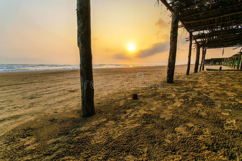 Mexican Beach Palapa. A palapa at the beach at Tuxpan in Veracruz state in Mexico royalty free stock image