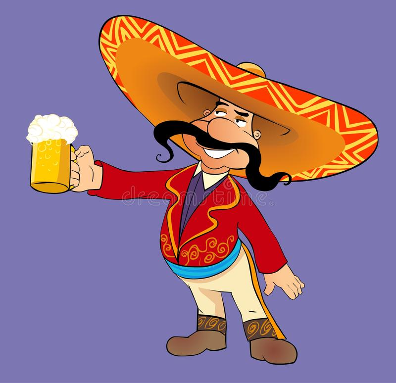 Mexican with a beer. Cartoon illustration of Mexican man with a mug of beer royalty free illustration