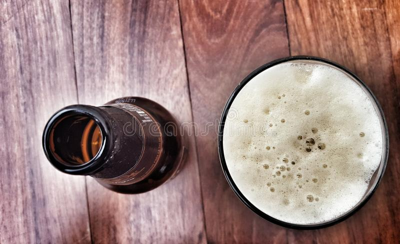 Mexican beer. Negra modelo for a refreshing drink.nFoam royalty free stock photo