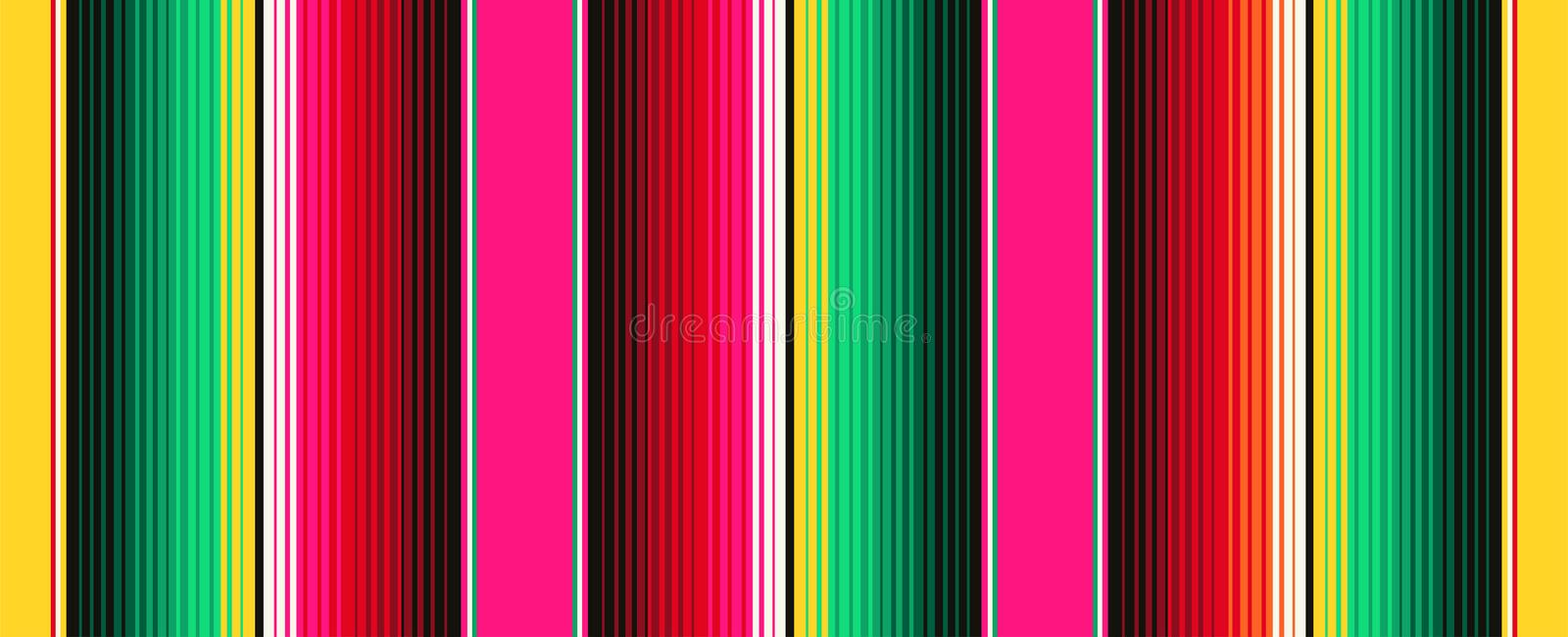 Mexican Blanket Stripes Seamless Vector Pattern. Background for Cinco de Mayo Party Decor or Mexican Food Restaurant stock illustration