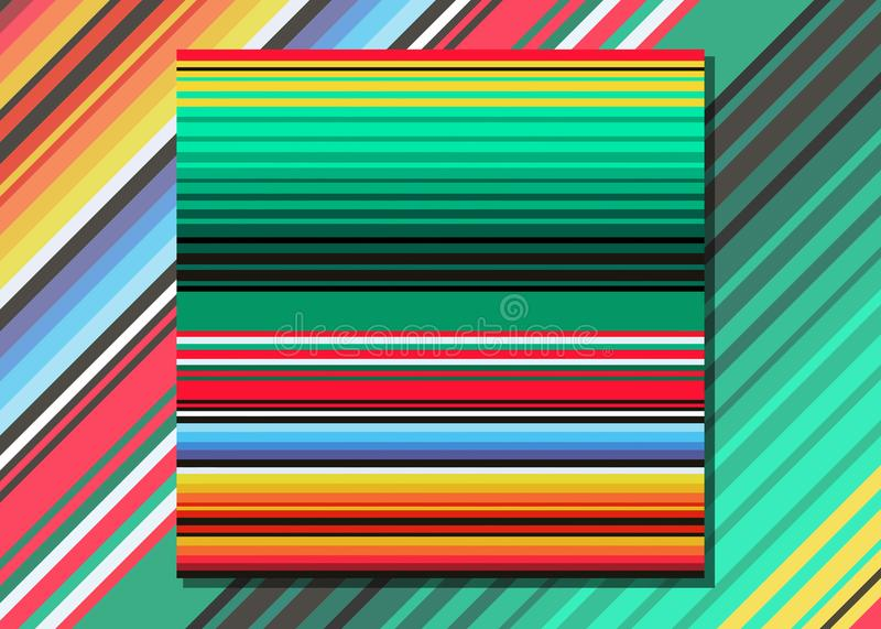 Mexican Blanket Stripes Seamless Vector Pattern. Typical colorful woven fabric from central america royalty free illustration
