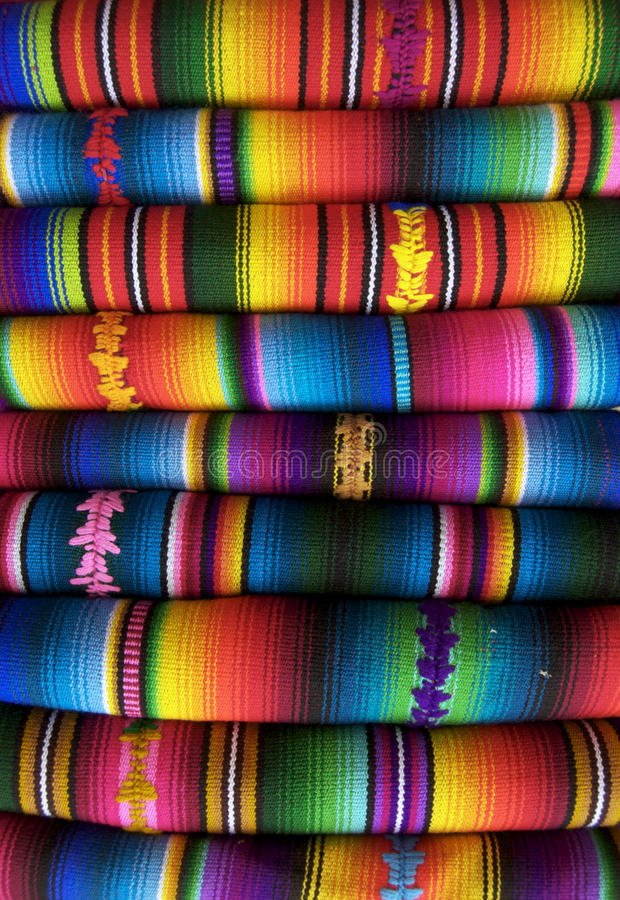 Mexican Blankets. For sale in a market stock photography