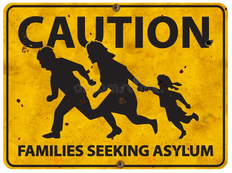 Mexican Border Family Running Asylum Sign Caution royalty free stock images