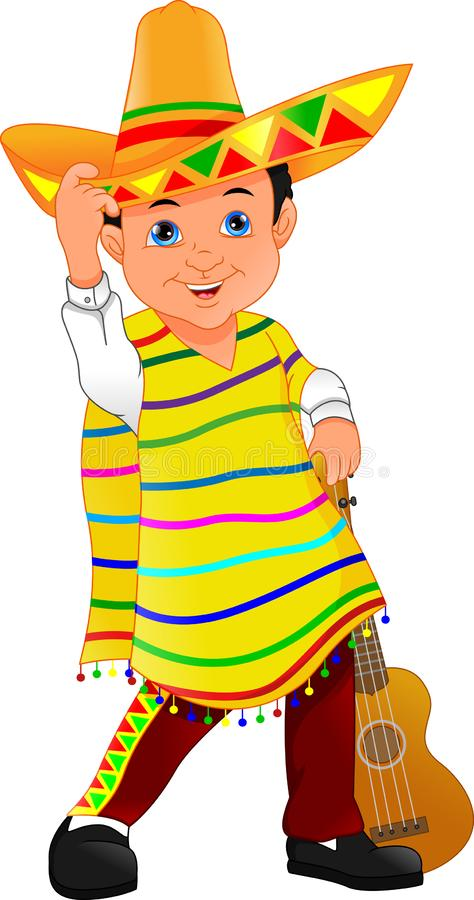 Mexican boy with hat and poncho. Vector illustration of mexican boy with hat and poncho vector illustration