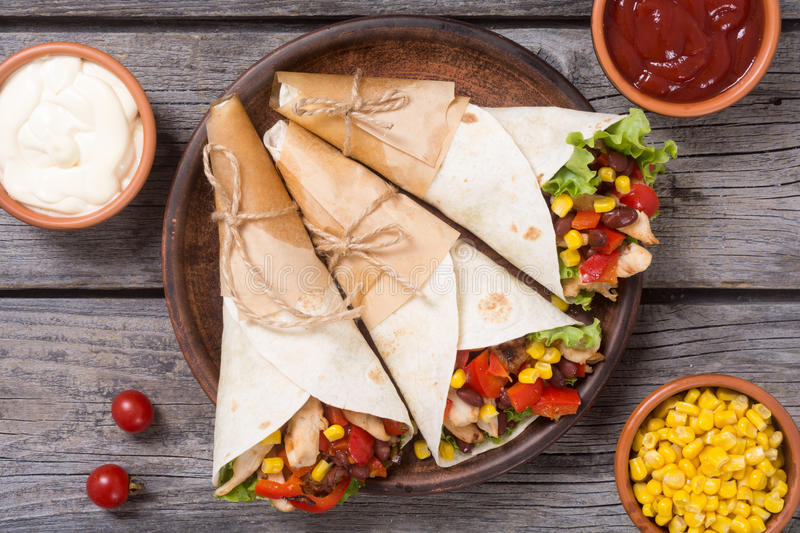 Mexican burrito with chicken stock photography