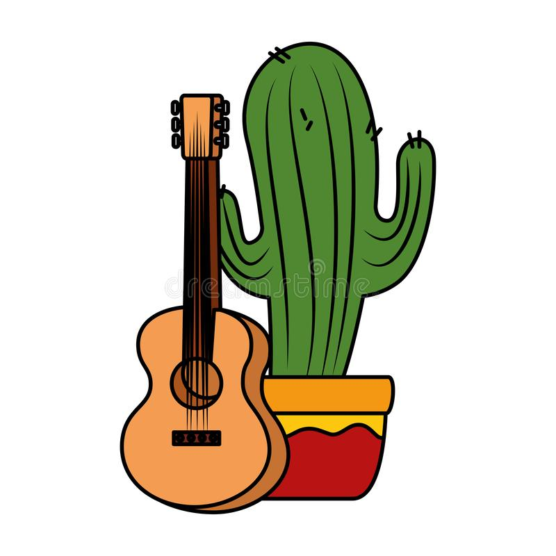 Mexican cactus with guitar royalty free illustration
