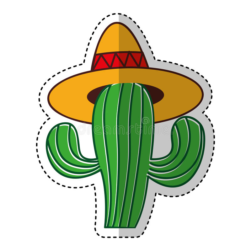 Mexican cactus with hat isolated icon. Vector illustration design stock illustration