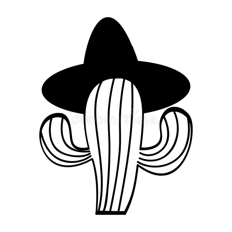 Mexican cactus with hat isolated icon. Vector illustration design vector illustration