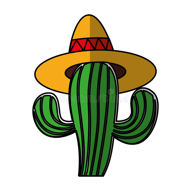 Mexican cactus with hat isolated icon. Vector illustration design royalty free illustration