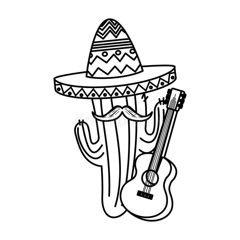 Mexican cactus with hat maricachi and guitar vector illustration