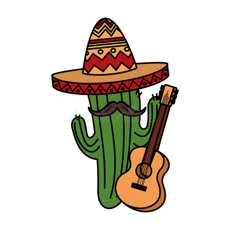 Mexican cactus with hat maricachi and guitar royalty free illustration
