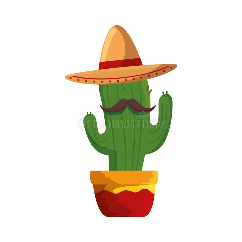 Mexican cactus with mariachi hat character. Vector illustration design vector illustration