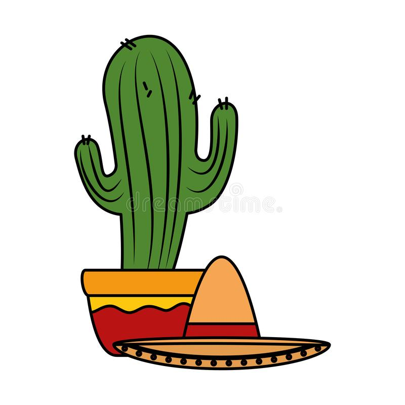 Mexican cactus with mariachi hat character. Vector illustration design stock illustration