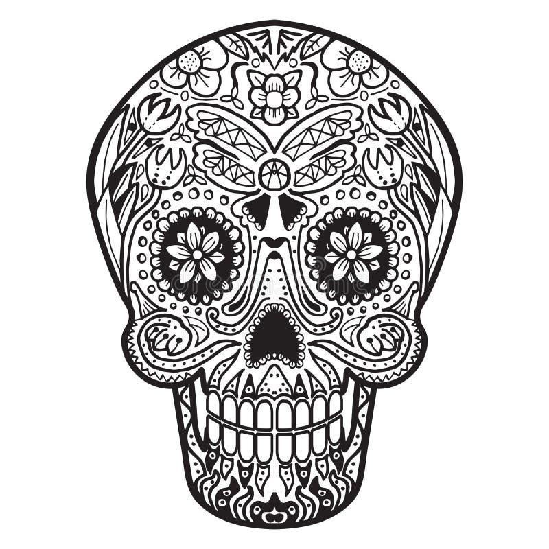 Mexican Calavera Skull handmade. Mexican Calavera Skull icon/symbol isolated on white vector illustration