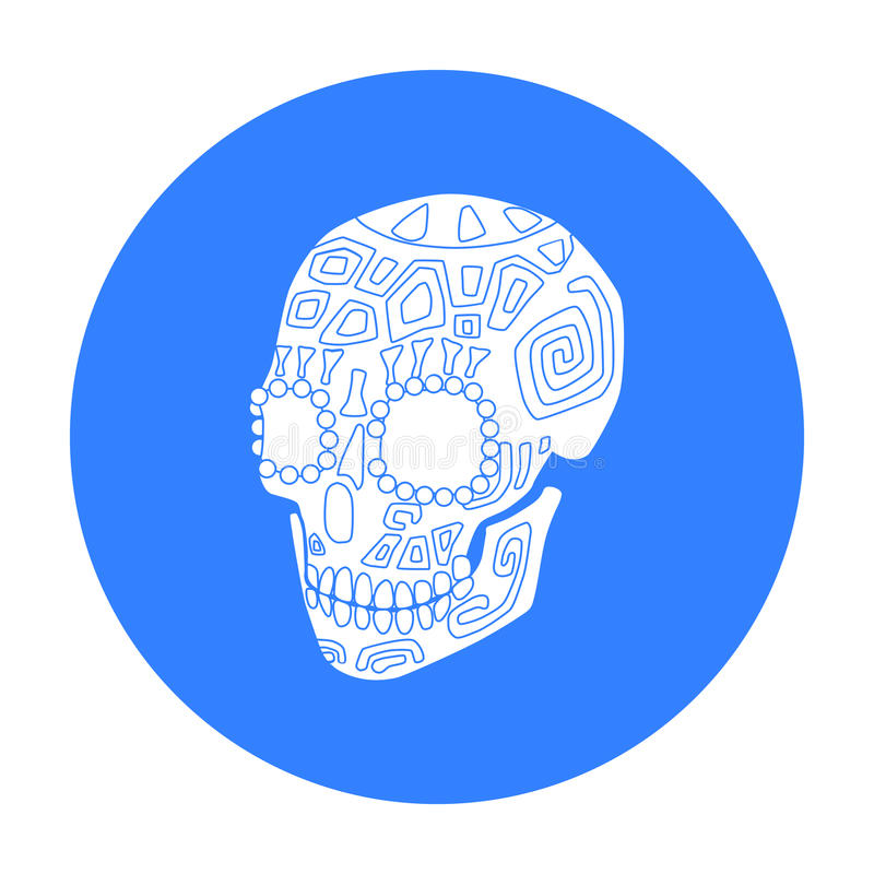 Mexican calavera skull icon in black style isolated on white background. Mexico country symbol stock vector illustration royalty free illustration