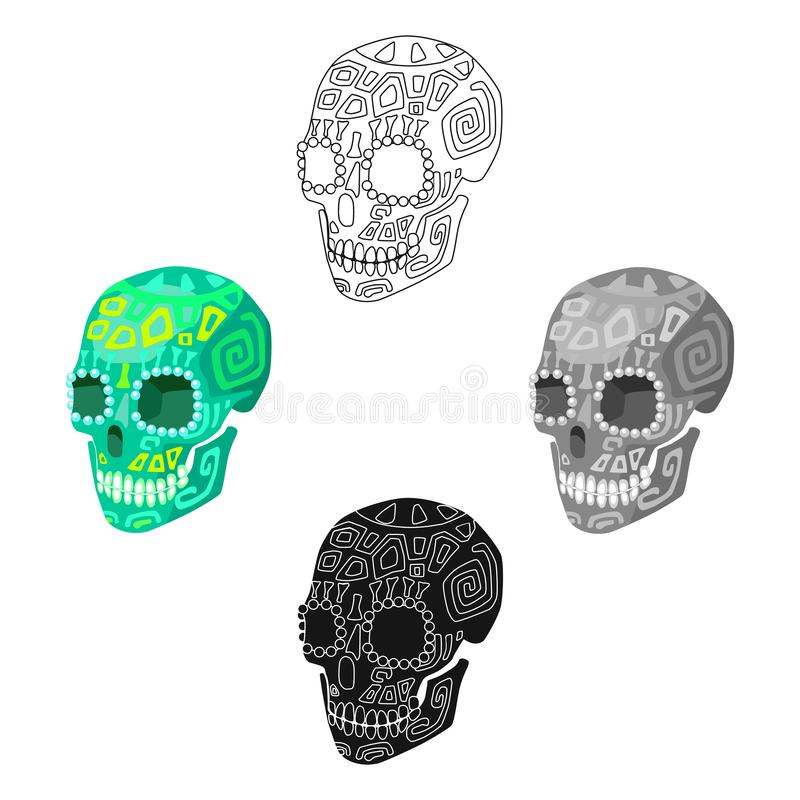 Mexican calavera skull icon in cartoon,black style isolated on white background. Mexico country symbol stock vector. Mexican calavera skull icon in cartoon,black vector illustration
