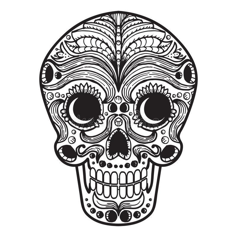 Mexican Calavera Skull. Icon/symbol isolated on white royalty free illustration