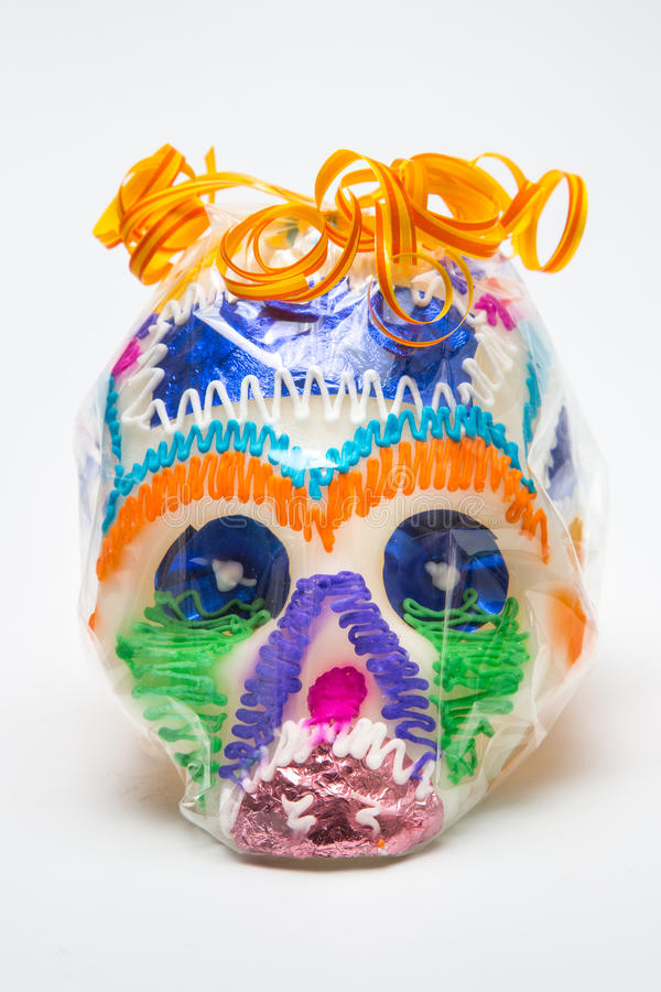 Mexican Calaverita de azucar Candy Skull original traditional front in package stock image