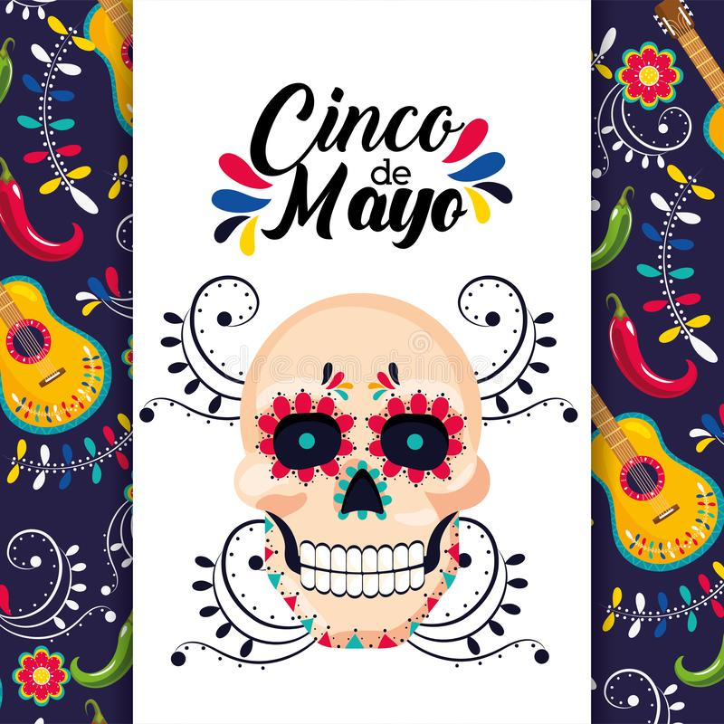 Mexican card with traditional skull decoration stock illustration
