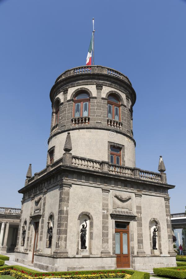 Mexican Castle In Spring Summer, Mexico City. Mexican Castle In Spring Summer Blue Sky With Mexican Flag, Mexico City royalty free stock image