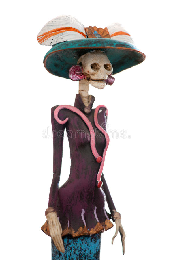 Mexican Catrina. Day of the death. Traditional mexican catrina isolated in white background. Shallow depth of field stock image